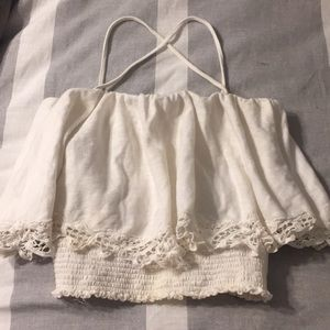 Free people smocked lace tube crop top xs